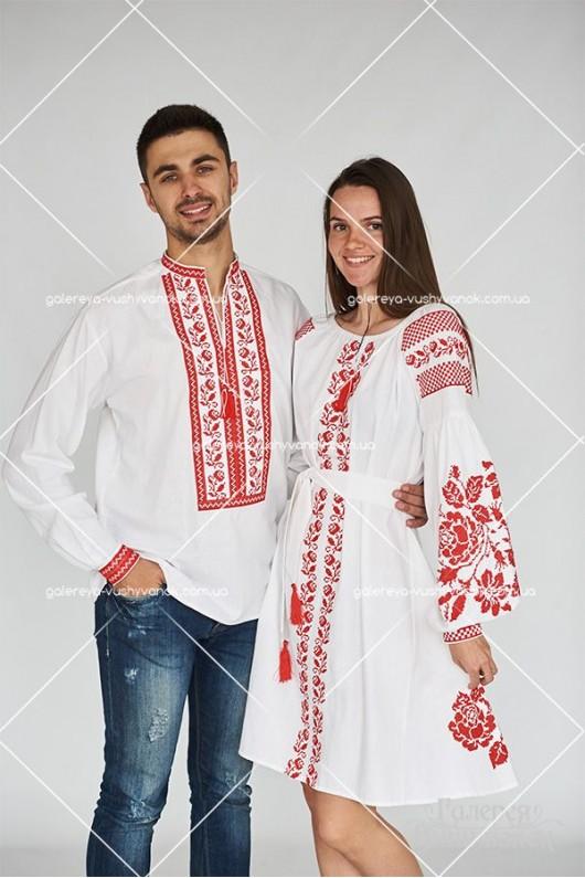 Чоловіча сорочка «Червона троянда» та сукня «Червона троянда»