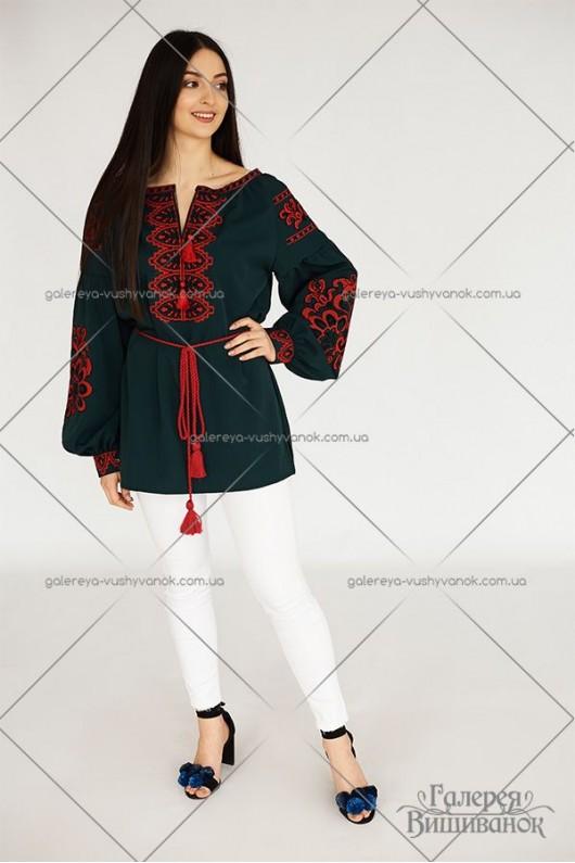 Блузи вишиті для жінки та дівчинки «Бохо-зелене»