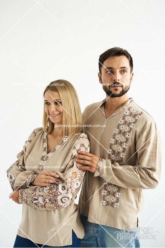 Чоловіча сорочка «Цвіт яблуні» і жіноча блузка «Бохо»