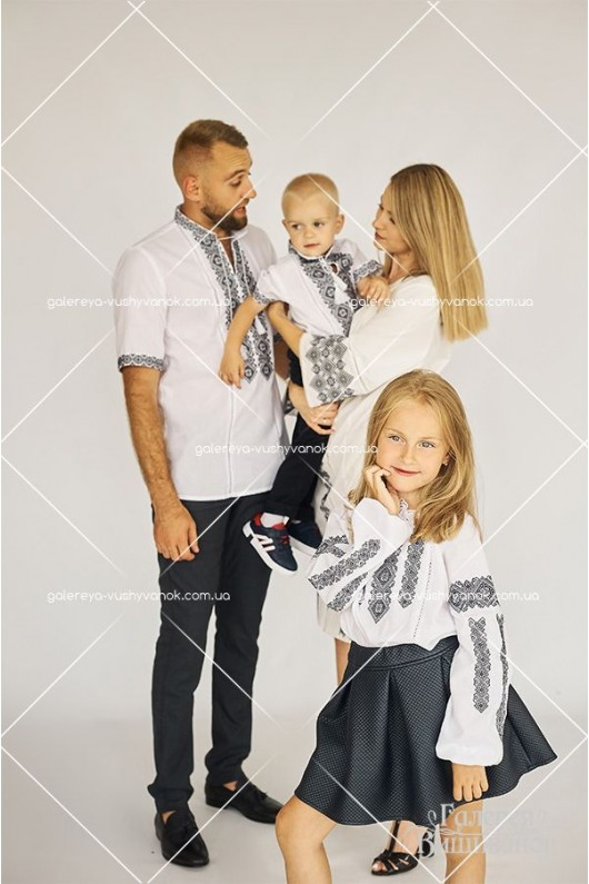 Сорочки для чоловіка «ГВ1411» та хлопчика «ГВ3411», жіноча сукня «ГВ6781» та блузка для дівчинки «ГВ4411»
