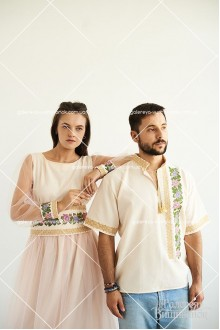 Чоловіча сорочка та жіноча сукня «Вечірні троянди»