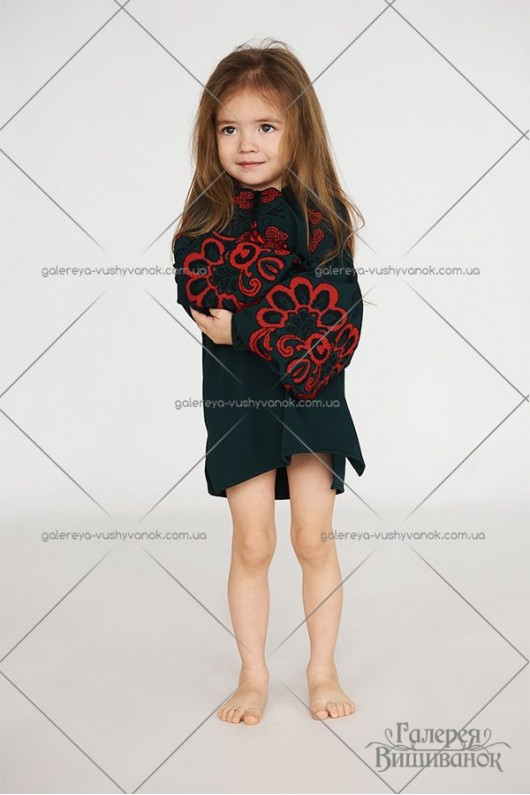 Блузка вишита для дівчинки «Бохо-зелене»