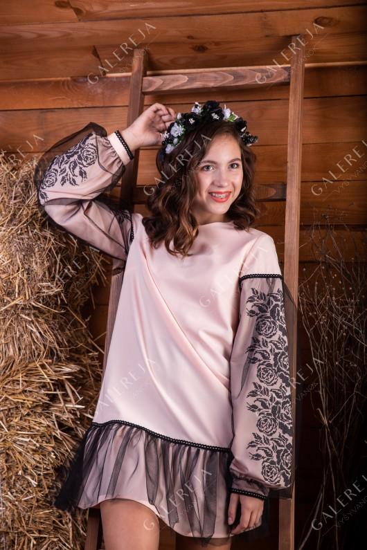 Вишита сукня для дівчинки «Ружа фатин»