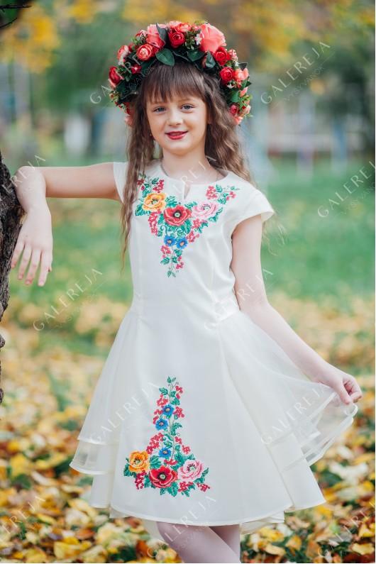 """Вишита сукня для дівчинки """"Українська-фатин"""""""