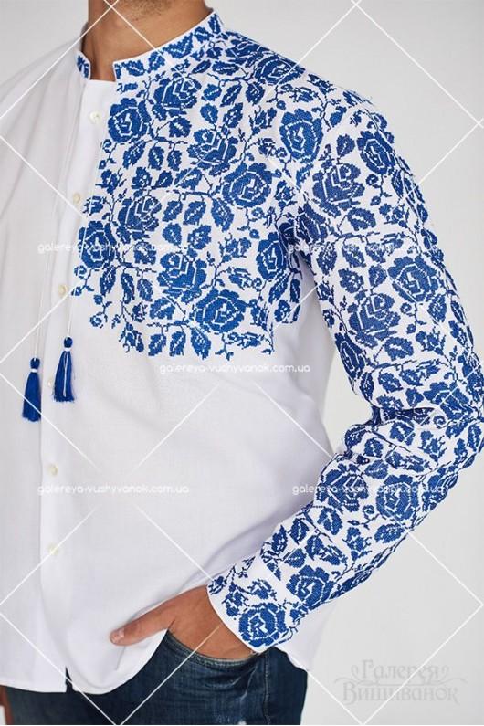 Чоловіча сорочка «Сині троянди»