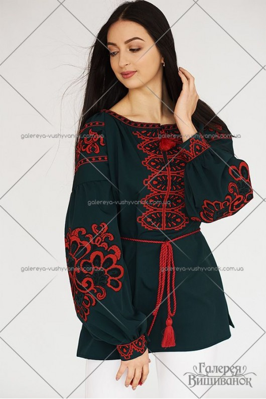 Жіноча вишита блузка «Бохо-зелене»