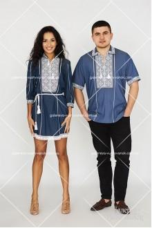 Чоловіча вишита сорочка «ГВ1021» та жіноча туніка «ГВ2221»