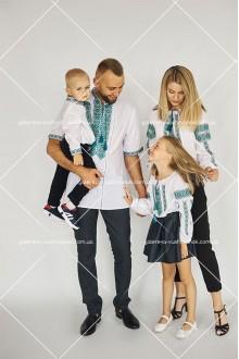 Рубашки для мужчины «ГВ1411» и мальчика «ГВ3411», булзки женская «ГВ2411» и для девочки «ГВ4411»