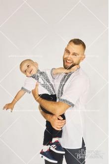 Рубашки для мужчины «ГВ1411» и мальчика «ГВ3411», женское платье «ГВ6781» и блузка для девочки «ГВ4411»